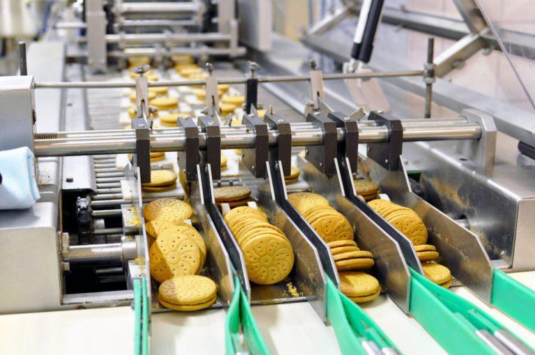 Cookies being prepared on a conveyor belt.